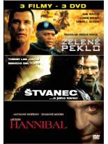 3 Filmy Zelené peklo / Štvanec / Hannibal DVD